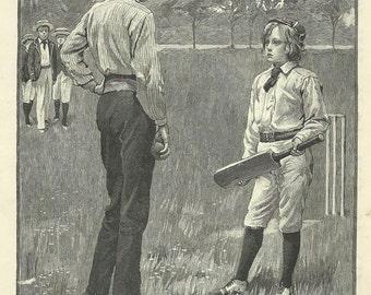 Boy Cricketer Cricket Childrens Print 1895 Engraving Wall Art Nursery Art Kids Wall Art Nursery Decor
