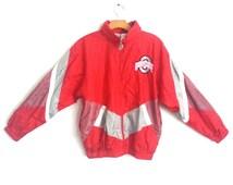 Vintage 80s 90s Windbreaker Ohio State Hooded Jacket Red Large
