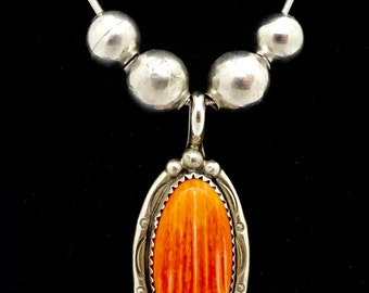 Vintage SPINY OYSTER NECKLACE Sterling Silver E. Duggin Navajo Native American Sterling Silver Pendant Necklace