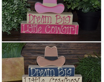 Dream Big Little Cowboy Nursery Decor Cowboy Baby Shower Decoration Southwestern Decor Cactus Cowboy Hat Cowboy Boots Western Block Set