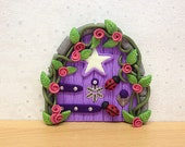 Clay Fairy Door, Fairy Decoration - Purple Dreams