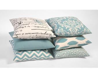 Light Blue Zipper Pillow Cover Light Blue Decorative 20x20 inch pillow Throw Pillow Light Blue Cushion Cover Mint Blue Pillow Cover-OIY3