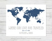 Push Pin Where Our Love Has Traveled World Map | Cork Foam Travel | 16x20 | 18x24 Personalized | Custom | Wedding Anniversary Valentine Gift