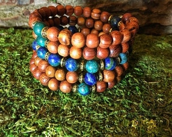 AZURITE & Red Wood Mala Bracelet | 108 Mala Beads | Unisex Wrist Mala | Mala Bracelet | Yoga Meditation Prayer Beads