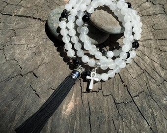 QUARTZ & OBSIDIAN Mala Beads with BLACK Suede Tassel   108 Bead Crystal Mala Yoga Necklace   Om, Meditation Beads by Mayan Rose MayanRose