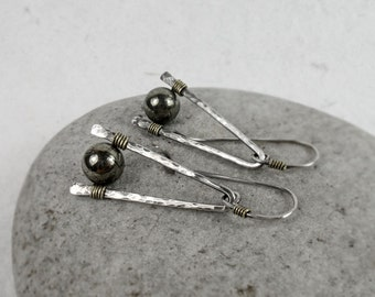"""Pyrite Mixed Metal Earrings, Modern, Hammered, Dangle, Sterling Silver, Copper, Rustic, Boho, Earthy, Protection Stone, """"Fool's Gold"""" Stone"""