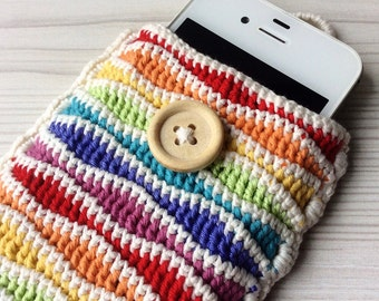 Crochet rainbow cell phone pouch, mobile phone case, cell phone case, cell phone slip cover, phone sleeve, crochet case, iPhone cover case