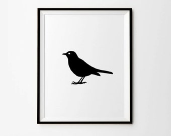 Bird, Bird Print, Black and white print, Printable Art,5 x 7 in, 8x 10 in, 11 x 14 in, Scandinavian Print, Instant Download