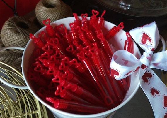 100 X Red Heart Wedding Bubbles DIY Wedding Wedding