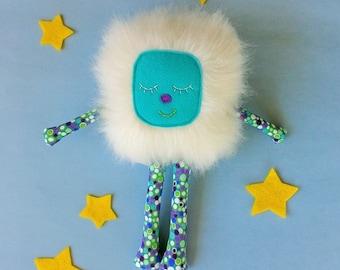 Stuffed Monster Toy, Soft Monster Toy, White Furry Monster, Gift for Girl