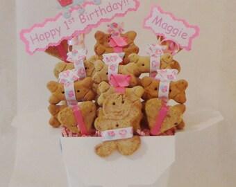 Dog treat birthday gift basket - dog gift basket - dog treats - dog biscuits - personalized dog treats - dog birthday - dog birthday treats