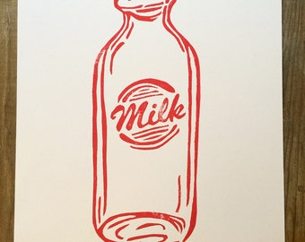 Milk   Vintage Bottle Illustration   Block Print Wall Art   Hand Lettering, Linocut, Hand Printed   11 x 14   Red and White   Southern Art
