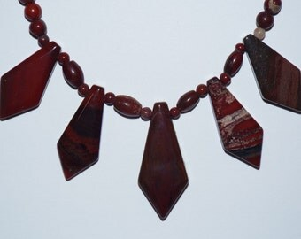 Necklace Red Jasper Faceted Stone Points  #617