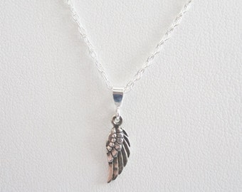 Angel Wing Mini Solid Sterling Silver Pendant Charm and Necklace, Angel Wing Charm, Angel Wing Necklace, Memorial Necklace, Memorial Jewelry