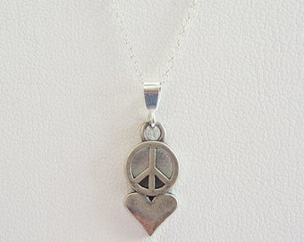 Peace Love Sterling Silver Pendant Charm and Necklace