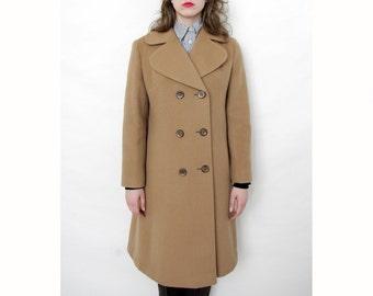 Vintage Coat / Tan Wool 70's Jacket