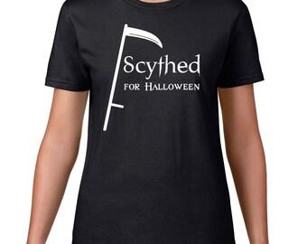 Halloween TShirt, Scythed For Halloween T Shirt, Funny T Shirt, Funny Halloween Tee, Scythe Tshirt, Horror T Shirt, Ringspun Cotton