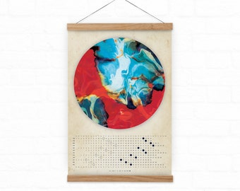 Moon Calendar 2017, Marble moon, Lunar calendar 2017,  wall lunar calendar- red and blue energy A3, A3+ size, office decor