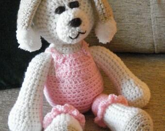 "Crocheted puppy dog stuffed animal doll toy ""Patti"""