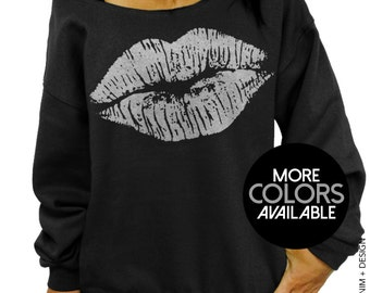 Lips Kiss - Black Slouchy Sweatshirt - Lipstick Plus Sized Off the Shoulder Sweater - More Ink Colors Available - Silver - Gold - Pink