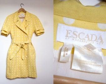 80s Escada Margaretha Ley Polka Dots Canari Yellow Dress, Designer Double Breasted Trench Coat Dress, L