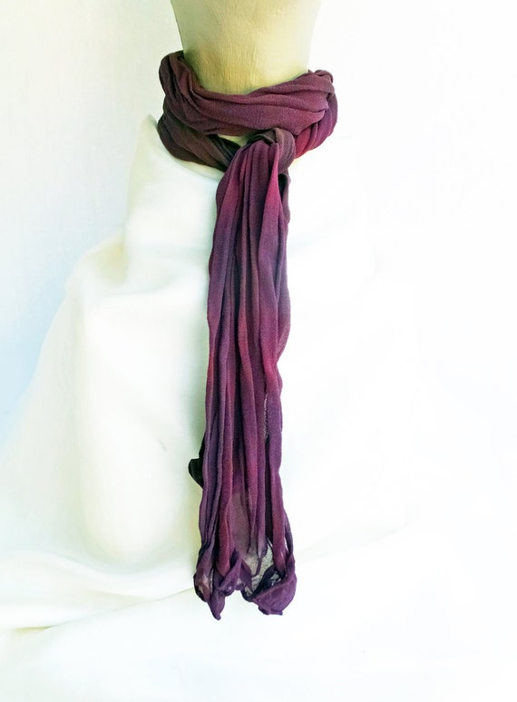 "Burgundy crinkle chiffon scarf - silk chiffon scarf - crinkle scarf - burgundy, red wine, purple, dark grey - hand dyed - small - 10"" x 50"""