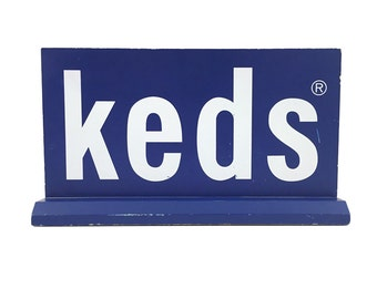 Keds Shoe Sign / Wooden Store, Window Display / Vintage Advertising / Kitsch, Industrial / Blue and White Decor / Shoes, Fashion, Sneakers