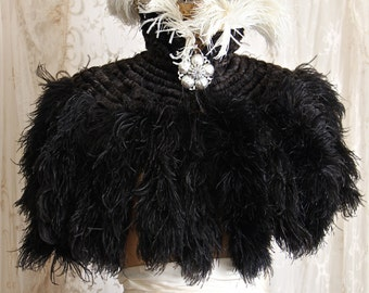 Exquisite Antique French Cape / Ostrich Feather Capelet / Goth Wedding/ Steampunk / One Size