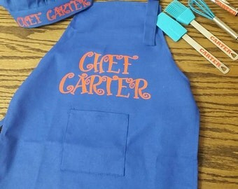 Child's custom cooking apron with matching chef hat