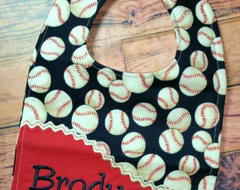 ONLY 1 AVAILABLE - Personalized Bib, - Monogrammed Baby Bib, - Baseball Baby Bib, - Reversible Baby Bib, - Baby Shower Gift