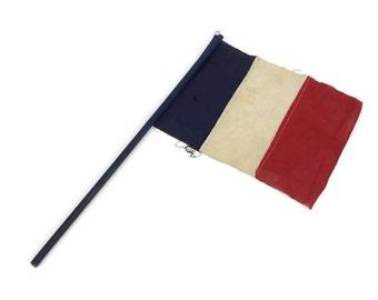 Vintage French Flag. Blue, White, Red Tri Color Flag. I Love Paris.