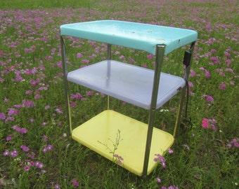RETRO TEA TROLLEY, metal cart, retro furniture, metal tray, rolling table, home bar, turquoise lavender yellow cart,