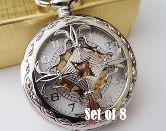 Silver Pocket Watch Set of 8 Personalised Groomsmen Gift Engraved Pocket Watches with Chains Wedding Pocketwatch Groomsman Best Man Usher