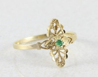 10k Yellow Gold Natural Green Emerald Filigree Ring Size 8