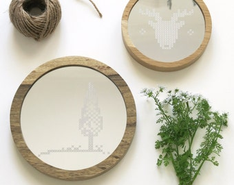 unique round wood mirrors related items etsy