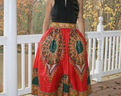 African Print Tea Length Skirt