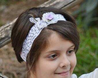 Purple flower, flower crown, flower headband, wedding headband, lace headband, toddler headband, girls headband, ivory headband, flower girl