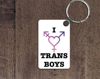 I love trans boys key chain
