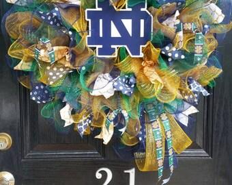 Large Burlap Wreath Notre Dame Fighting Irish College Team Football Basketball Baseball Mesh Ribbon