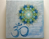 Mandala Art, OOAK, Mixed Media on Wood - OM Yoga Art