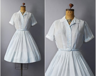 1950's L'Aiglon Gingham Blue Shirtwaist Dress • medium