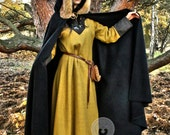 Medieval Viking cloak with hood, natural fox fur, historical cape, Middle Ages, coat for man, a semicircle coat, Scandinavia