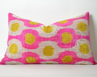 Pink Velvet Ikat Pillow Cover 16x24 Neon Pink Yellow Modern Soft Decorative Velvet Ikat Pillow For Couch Neon Pink Pillow Pink Couch Pillow
