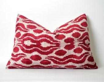 Red Ikat Pillow Cover - Velvet Ikat Lumbar Pillow Decorative Pillows Red White Pillow Sofa Pillows Designer Throw Pillow Living Room Decor