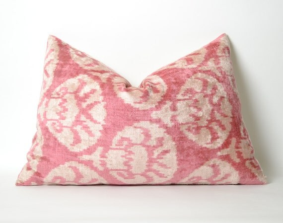 Pale Pink Velvet Pillow Cover Pink Cream Pillow Silk Velvet