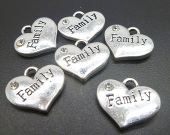 4 Family Charms Antique Silver Tone -MC806