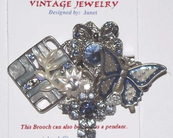 Color Theme / Blue.  1-of-a-Kind collage brooch / pendant, made from recycled vintage jewelry.  Rhinestones, silver, butterfly. #90.