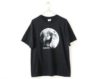LARGE Vintage 1990s Arizona Moon Wolf Graphic T-Shirt
