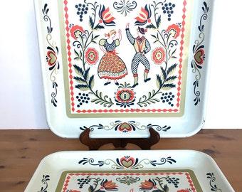 Vintage folk art trays square metal Scandanavia couple Maxey design