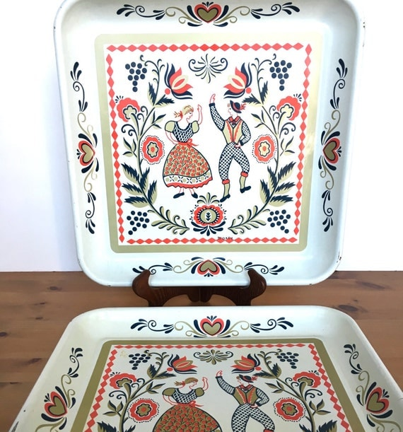 Vintage folk art trays square metal Scandanavia couple Maxey design